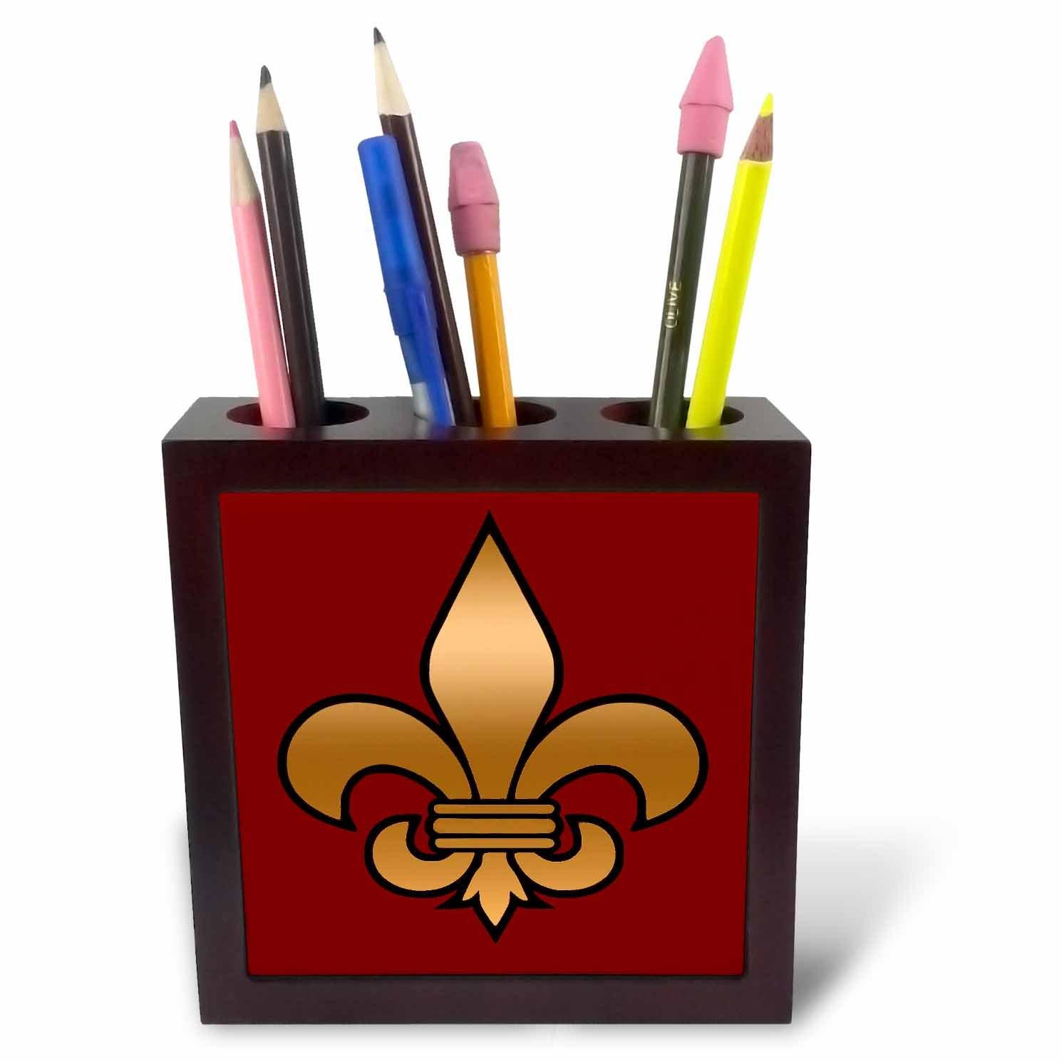 3dRose ph_30760_1 Large Black and Gold Fleur De Lis on Maroon Background Christian Symbol-Tile Pen Holder, 5-Inch