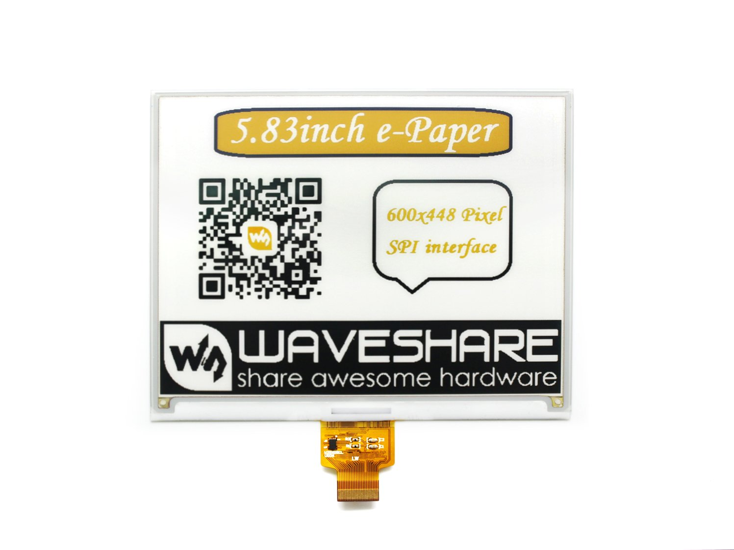 Without PCB 296x128 Resolution 3.3v E-Paper Screen Support Yellow Black and White Three-Color Display with Embedded Controller,SPI Interface C Waveshare 2.9 inch E-Ink Raw Display Panel