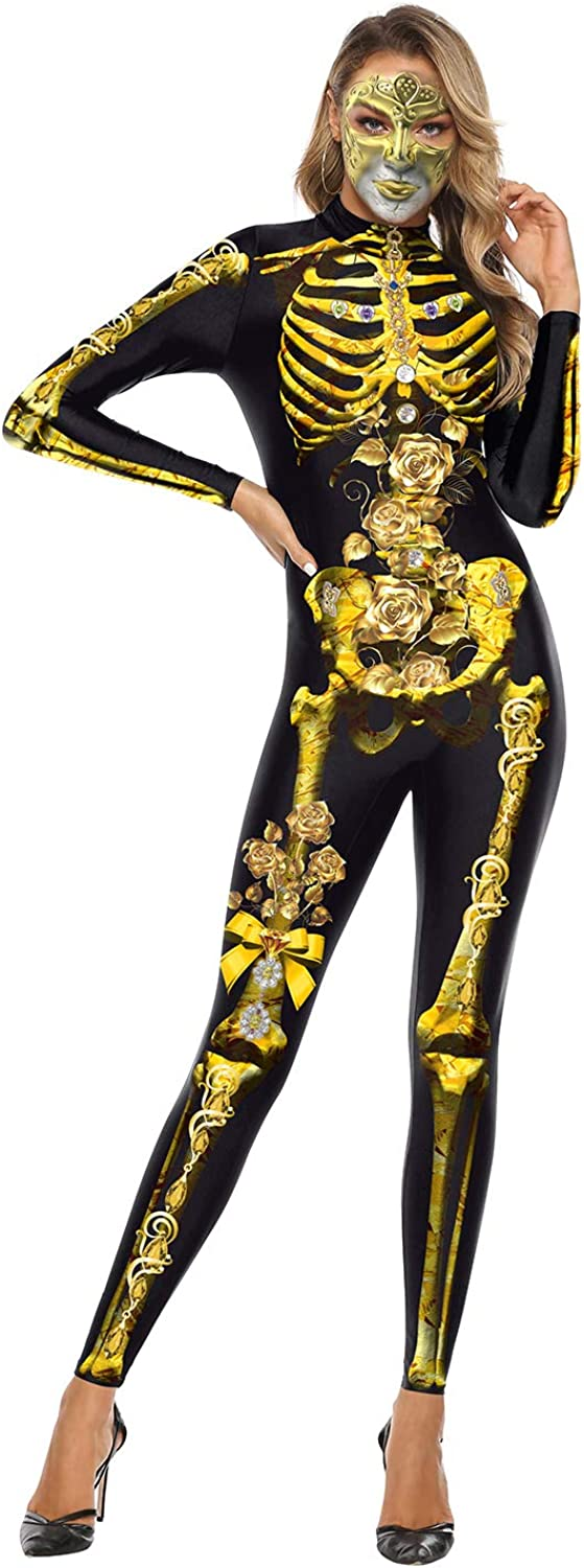 color cosplayer Women Skeleton Bodysuit Costume 3D Print Cosplay Jumpsuit Skinny Bodycon Holiday Catsuit