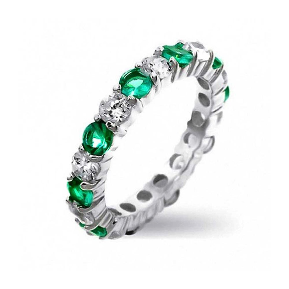 Bling Jewelry Sterling Silver Cz Green Simulated Emerald Eternity Band R07349RS-C40