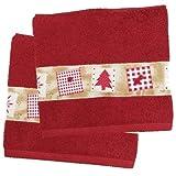 Red Christmas Tree Holiday Bath Towel - Set of 2