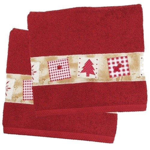 Amazon.com: Red Christmas Tree Holiday Bath Towel - Set of 2: Home ...