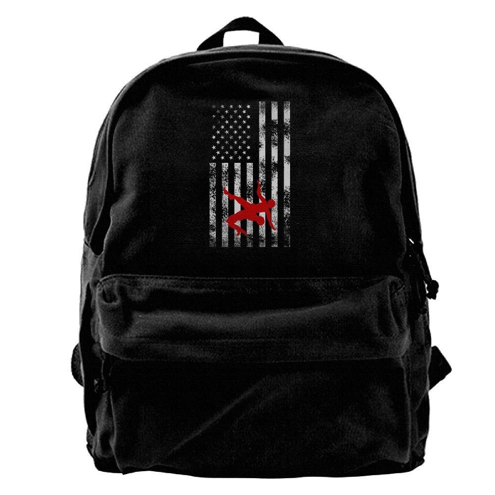 Wrestling Wrestler USA Flag Pride Unisex Vintage Canvas Backpack Travel Rucksack Laptop Bag Daypack Black