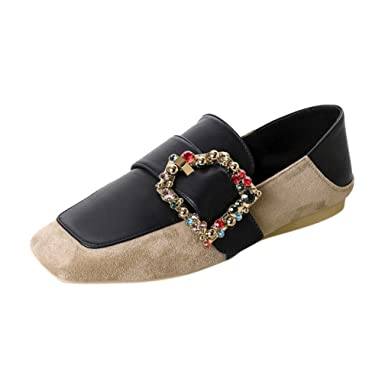 0b5e33c262c Image Unavailable. Image not available for. Colour  Clearance Sale!OverDose  Women s Flats Ladies Belt Comfy Crystal Shoes Soft Slip-On Casual