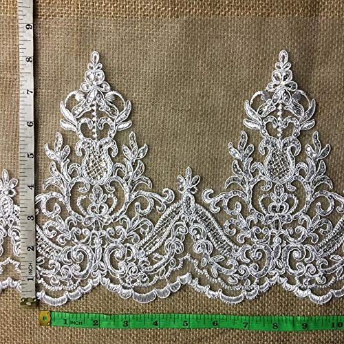 - Bridal Veil Lace Trim Gorgeous Elegant Alencon Embroidered Corded Sequined Mesh, 8