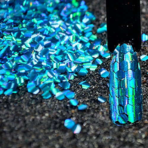 CoolNail 1 Box Shining Scales Nail Sequins Mermaid Hexagon Sheets Fish Scale Iridescent Laser Blue Flakes for Nail Art DIY decoration (Scale Laser Art)