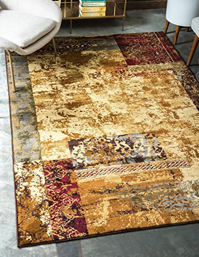 Cheap Unique Loom Barista Collection Abstract Modern Rustic Warm Beige Area Rug (9′ x 12′)