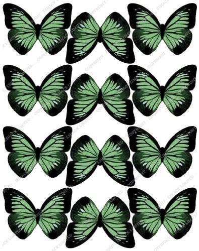 Cakeshop 12 x PRE-CUT Green Edible Butterfly Cake