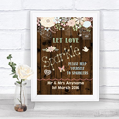 Rustic Wood Effect Sparklers Send Off Personalized Wedding Sign