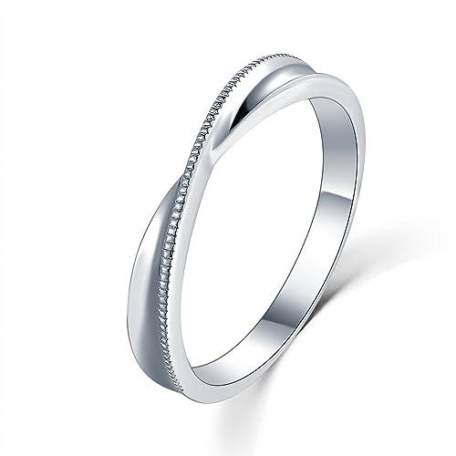 18 ct Oro Blanco Anillo de compromiso, boda, pareja entrelazadas ...