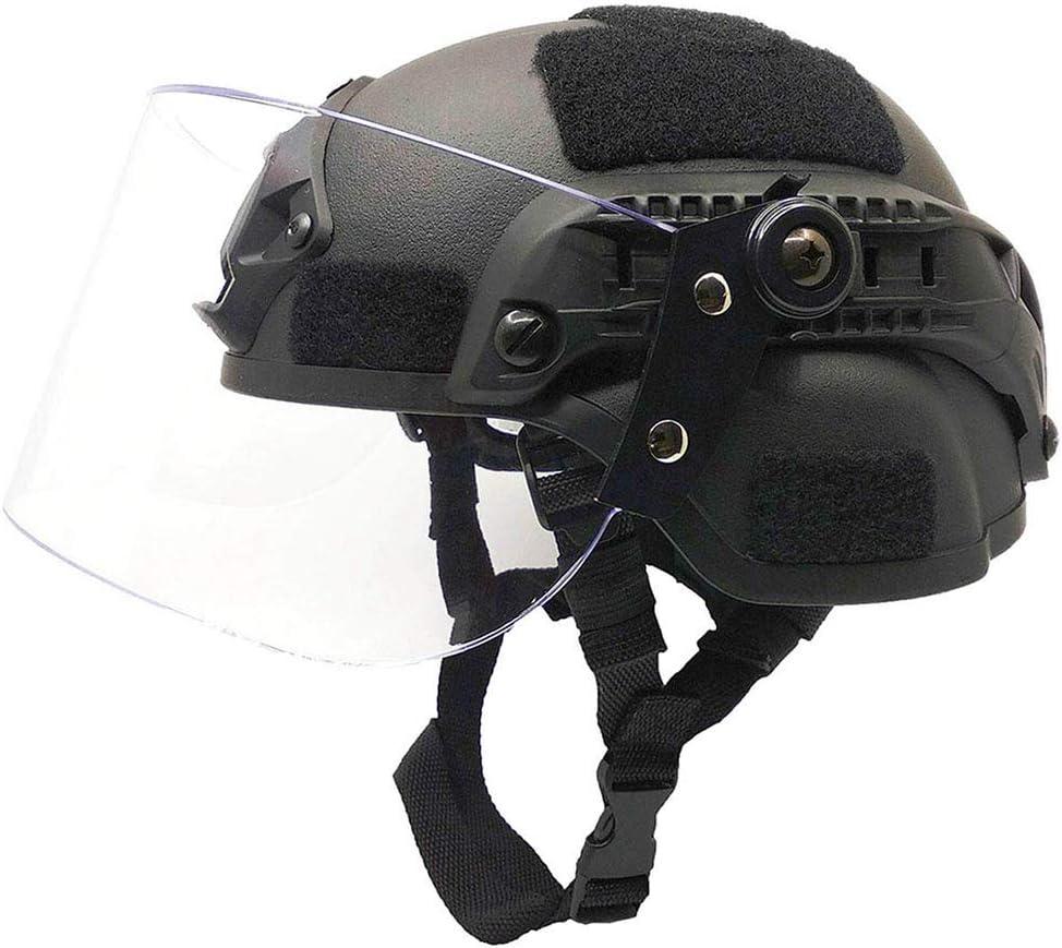 XYLUCKY Casco táctico, Airsoft Tactical Mich 2000 Military Paintball SWAT Casco de policía con Visera Transparente antidisturbios Gafas Protectoras deslizantes y riel Lateral Montaje NVG, Negro