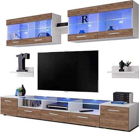 ExtremeFurniture Flash Mueble para TV, Carcasa en Blanco Mate/Frente en Roble Tabaco Mate + LED Multicolor con Mando a Distancia: Amazon.es: Hogar