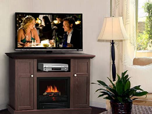 Corner Electric Fireplace U0026 TV Stand Entertainment Center Dark Brown
