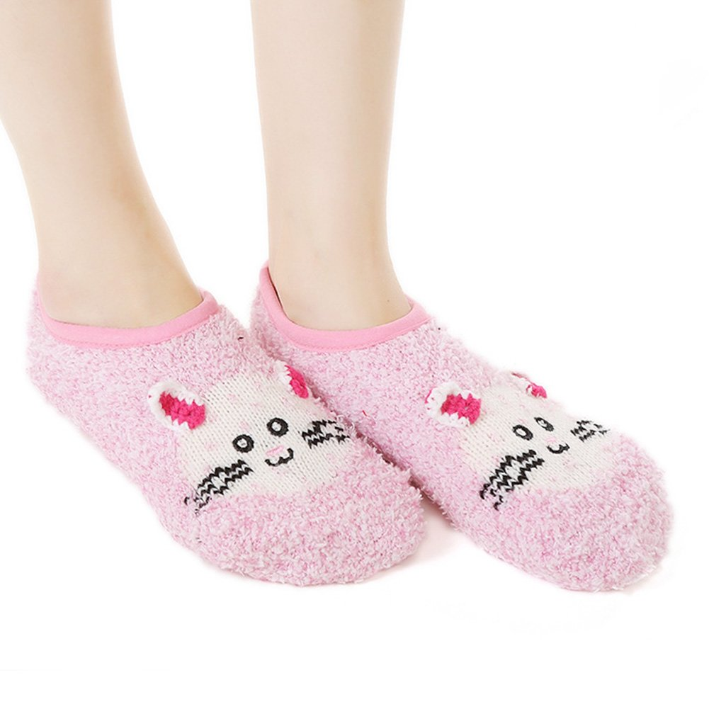 Super Soft Slippers Socks with Grippers Ballet Style Non-Skid Sole Sleeping Socks for Women, Girls Cozy Fuzzy Animal Cartoon