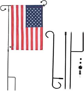 NQ Garden Flag Stand Flagpole, Premium Metal Powder-Coated Weather-Proof Paint with Anti-Wind Clip for Thanksgiving Day Garden Flag (Flag Not Include) (1 Pack)