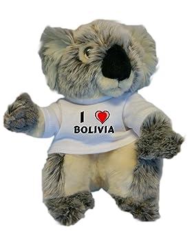 Koala personalizada de peluche (juguete) con Amo Bolivia en la camiseta (nombre de