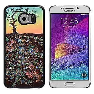 Paccase / SLIM PC / Aliminium Casa Carcasa Funda Case Cover - Flowers Art Painting Tree Sky - Samsung Galaxy S6 EDGE SM-G925