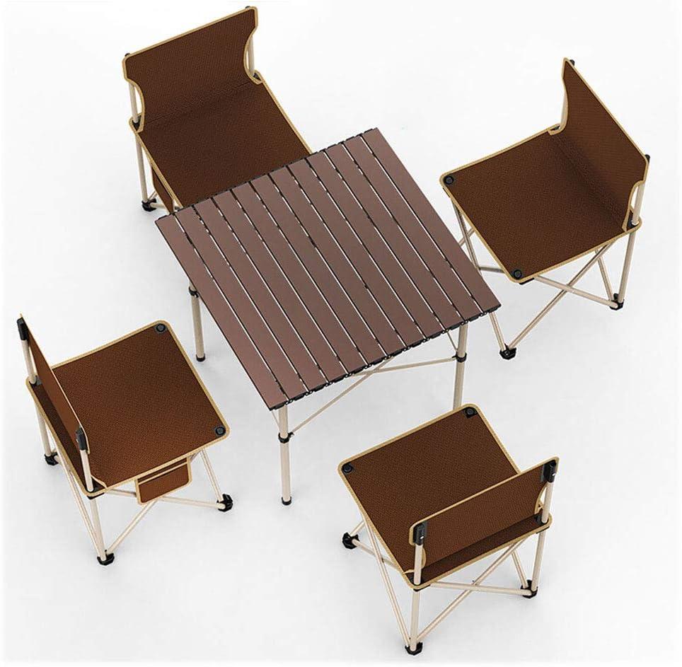 Mesa Plegable al Aire Libre de Aluminio Mesa Cuadrada pequeño jardín o Mesa de Camping-Mesa única más 4 sillas: Amazon.es: Hogar
