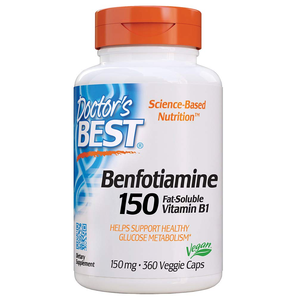 Doctor s Best Benfotiamine, Non-GMO, Vegan, Gluten Free, Soy Free, Helps Maintain Blood Sugar Levels, 150 mg, 360 Veggie Caps