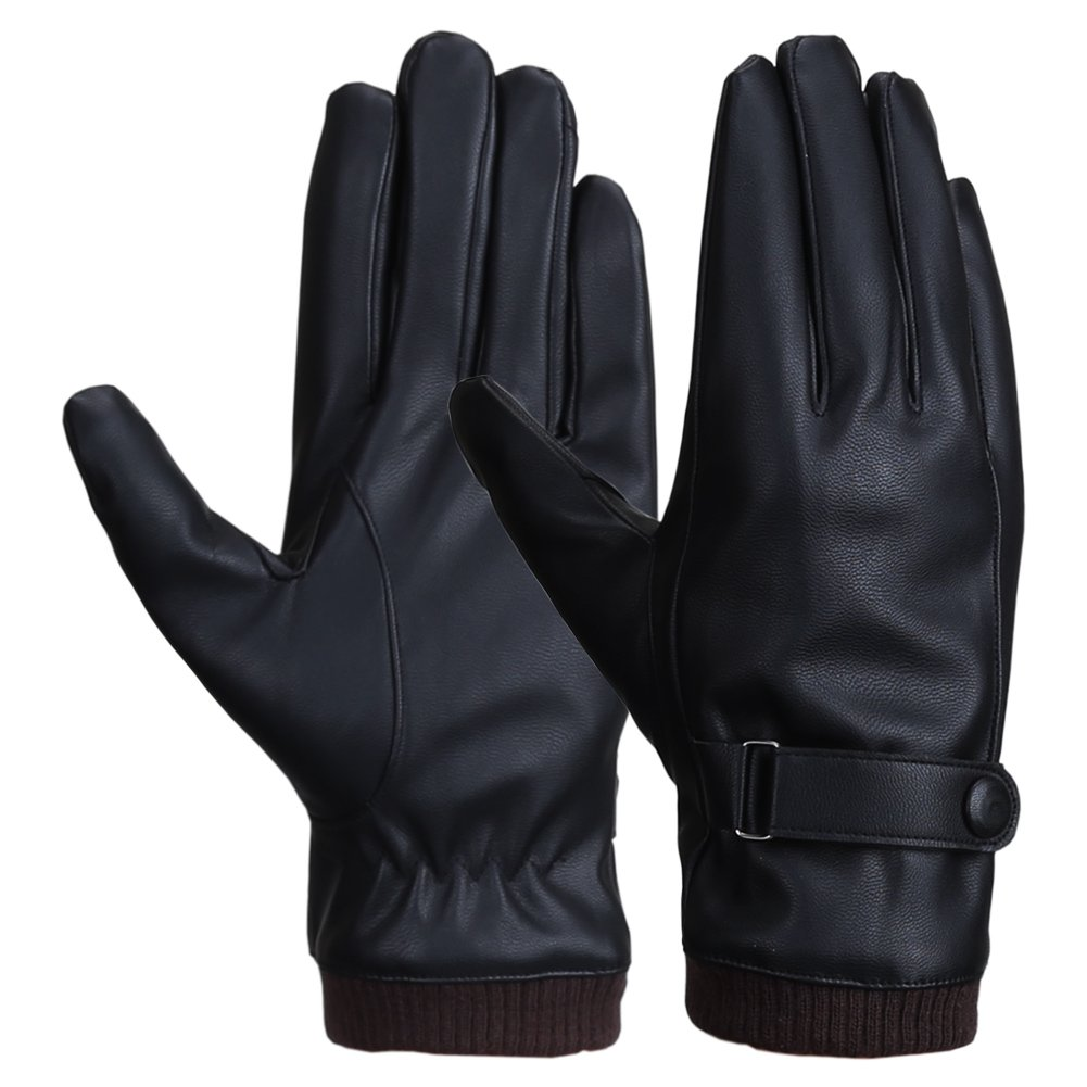 Men Winter Touchscreen Texting PU Leather Gloves with Wool Lining Black