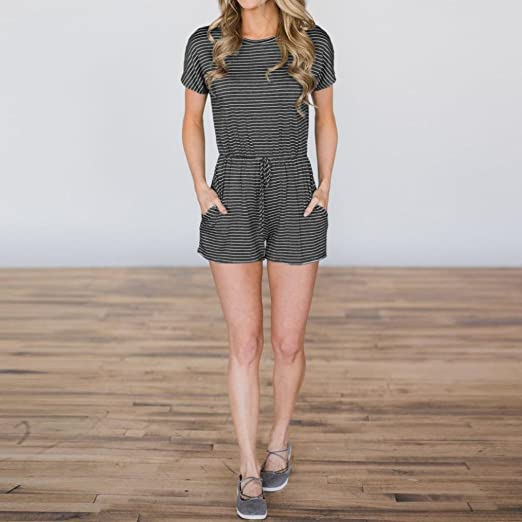 f331e587e50 Amazon.com  WensLTD Women s Fashion Striped Jumpsuit Casual Loose Short  Sleeve Playsuits with Pockets  Clothing