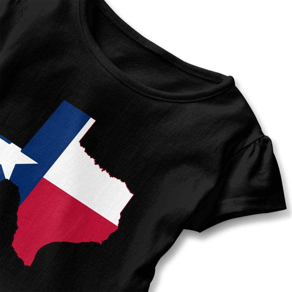 Texas Flag Outline Clipart T-Shirt Kids Girls Short Sleeve Ruffles Shirt Tee for 2-6T