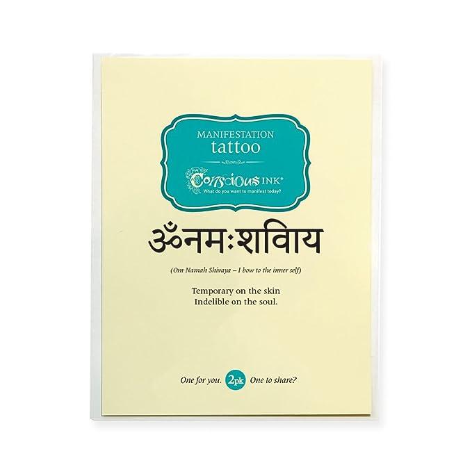 Conscious Ink Manifestación Tatuaje 2-Pack Om Namah Shivaya (juego ...