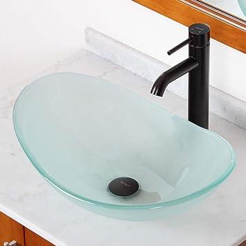 Elite Tempered Bathroom Oval Glass Vessel Sink/ Faucet Combo ...