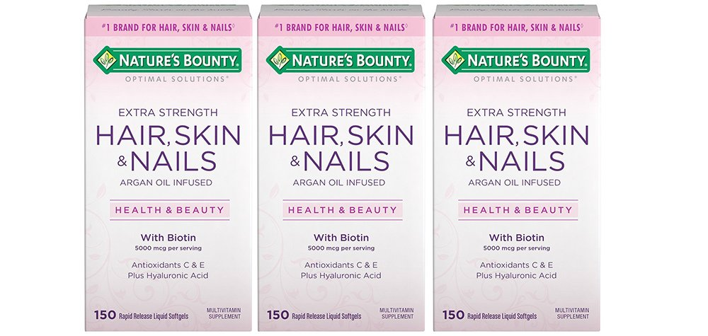 Optimal Solutions Hair Skin & Nails Extra Strength, 3 Bottles (150 Count)