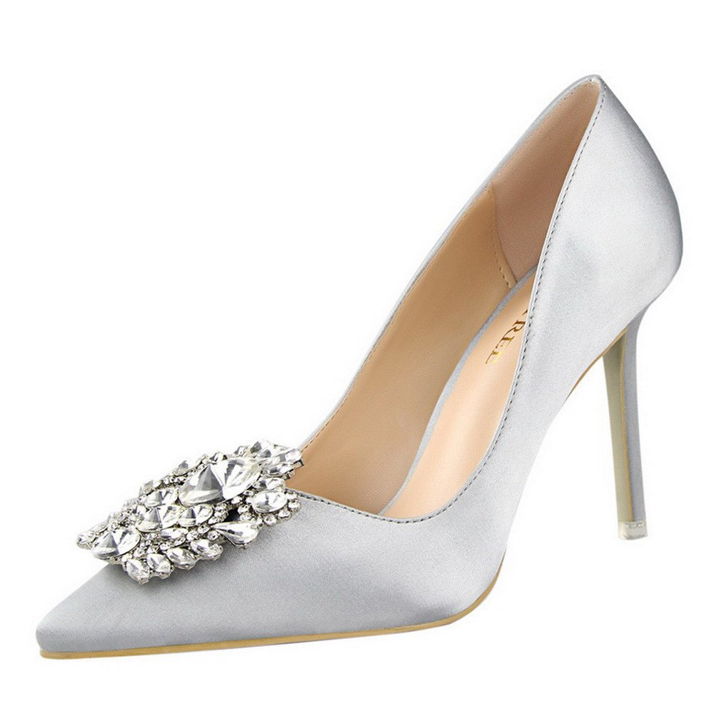 【MOHOLL】 Womens High Heel Stiletto Sandals Slip On Open Toe Side Cutout D'Orsay Dress Shoes Silver