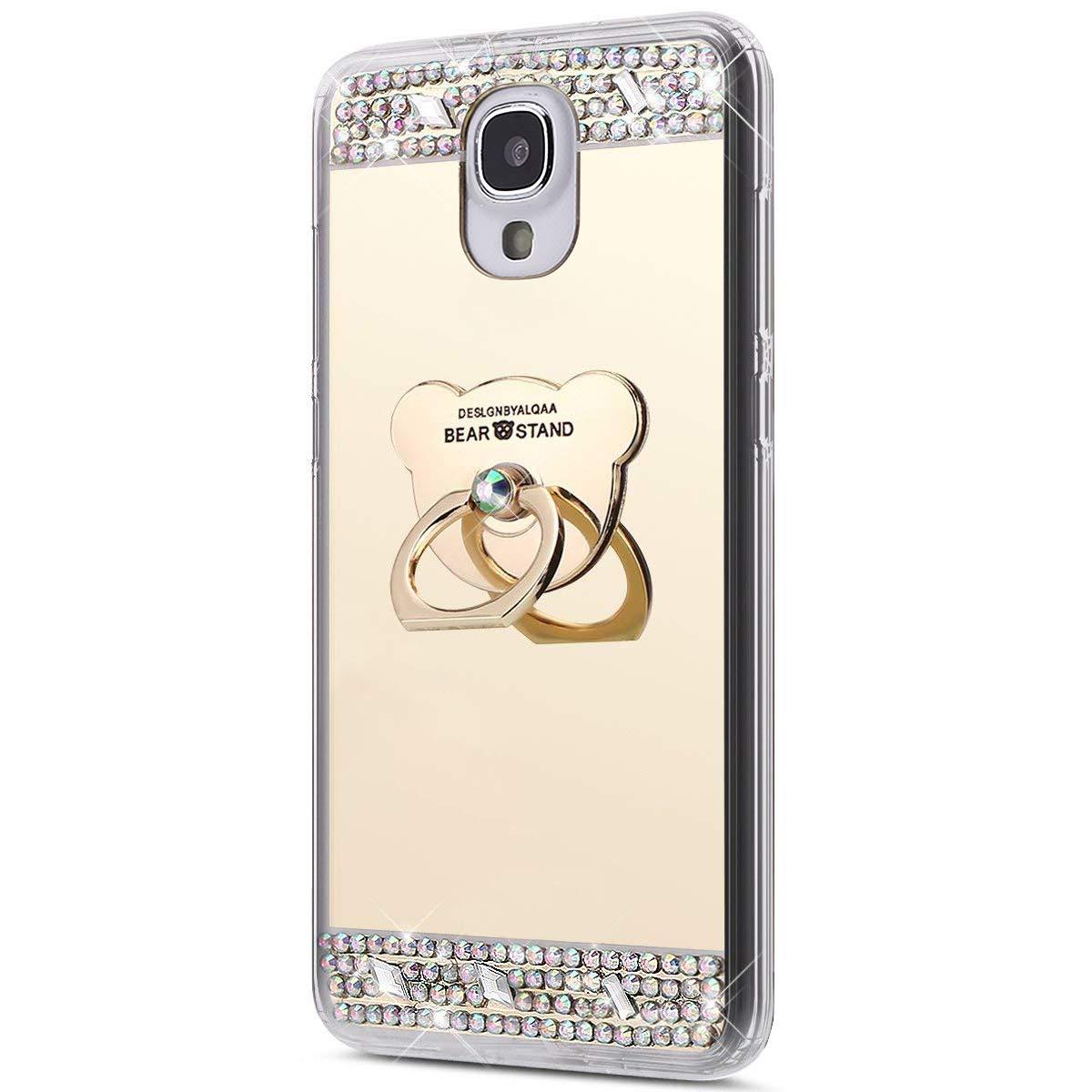 Galaxy S4 Hülle, Spiegel Hülle für Samsung Galaxy S4, Surakey Luxus Glitzer Strass Ring Stand Holder Bär Muster Schutzhülle für Samsung Galaxy S4 Weich Silikon Handyhülle Spiegel Hülle Mirror Effect, Neu Mode Cool Luxus Bling Glitzer Kristall Strass Diaman