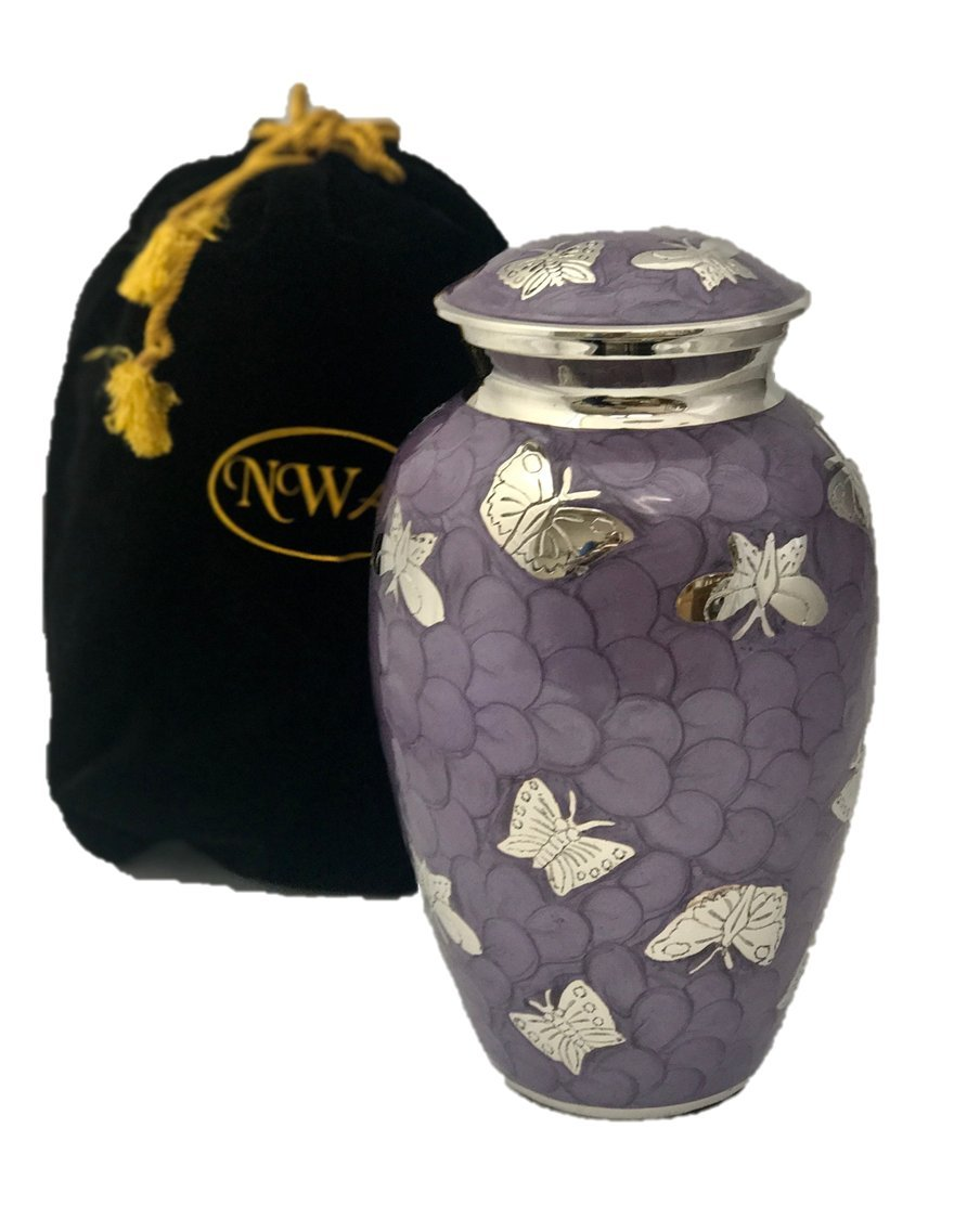 Beautiful Lavender butterfly Cremation Urn, Memorial Brass Adult Human Urn with Velvet Bag