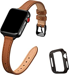 STIROLL Slim Leather Bands Compatible with Apple Watch Band 38mm 40mm 42mm 44mm, Top Grain Leather Watch Thin Wristband Compatible for iWatch SE Series 6/5/4/3/2/1 (Brown with Black, 38mm/40mm)