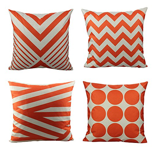 All Smiles Outdoor Decorative Orange Throw Pillow Covers Cases Accent Cushion 18x18 Set of 4 Cotton Linen Square for Patio Couch Sofa,Geometric Chevron Stripe ()