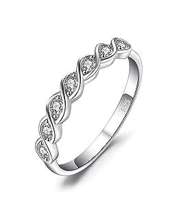 JewelryPalace Classique Ronde Zircone Cubique Mariage Promise Bague en Argent 925