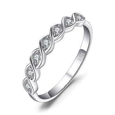 JewelryPalace Anillo elegante de boda adornado Circonita en plata de ley 925 Tamaño 09
