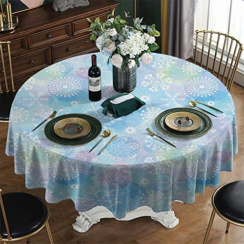 KFUTMD Overlays Round Tablecloth Christmas Snowflake Bokeh Style Background with Abstract Snowflake Pattern Winter Themed Composition Multicolor Pineapple Table Cloth Diameter 60