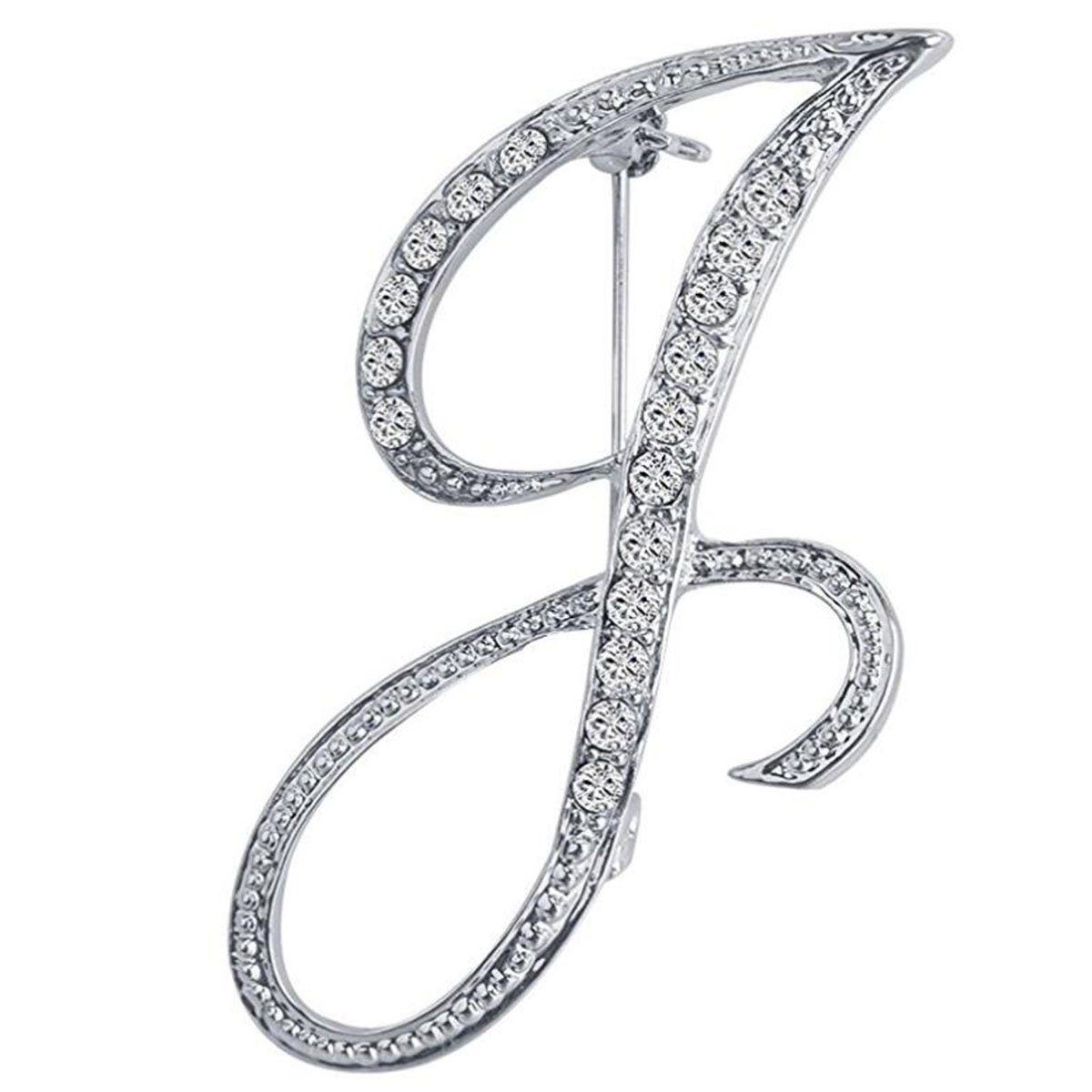 ANTOLL1Pcs A to Z 26 English Letters Silver Plated Metal Clear AAA+ Crystal Lapel Pin Brooches Collar (1pcs-J)