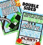 Pixel Party Large Invitations - 12 Invitations + 12 Envelopes - Double Sided - Made in The USA Brights