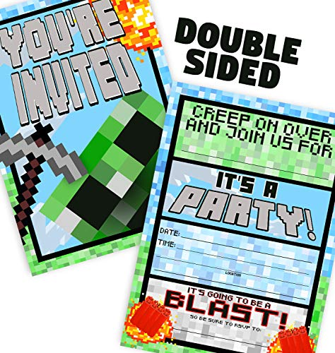 Pixel Party Large Invitations  12 Invitations  12 Envelopes  Double Sided  Made in The USA Brights