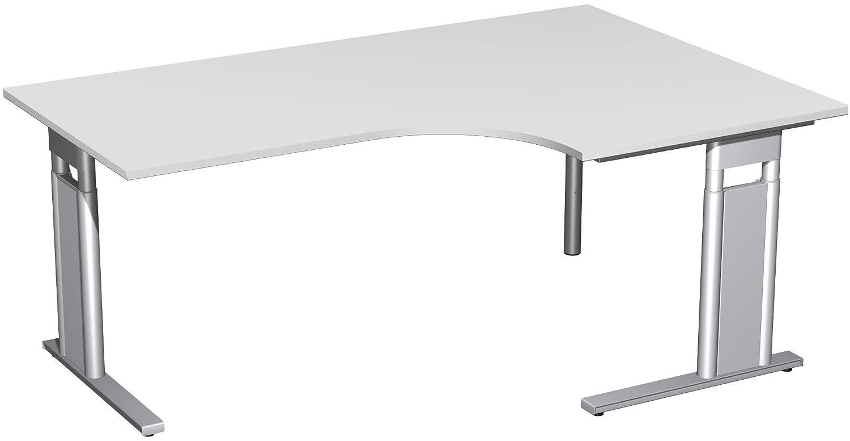 Geramöbel PC-Schreibtisch rechts höhenverstellbar, C Fuß Blende optional, 1800x1200x680-820, Lichtgrau/Silber