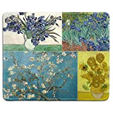 dealzEpic - Art Mousepad - Natural Rubber Mouse Pad with Famous Fine Art Painting of Collage of Famous Paintings by Vincent Van Gogh - Stitched Edges - 9.5x7.9 inches