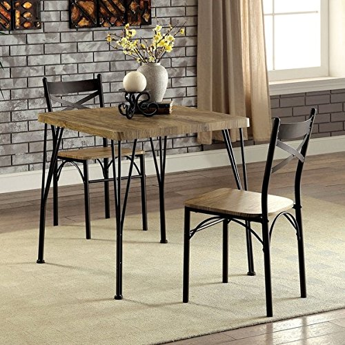 Brown Veneer and Grey Metal with One Dining Table and Two Side Chairs, Square Shape and Casual StyleIncludes a Cross Scented Tart