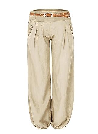 bc9a16923491 Aitos Femme Pantalon Fluide Culotte Bouffante Elastique Yoga Aladin Harem  Pantalon Sarouel avec Ceinture en Cuir