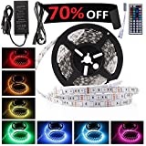 LEDMO 5050 RGB LED Strip Kit with 300-Piece 12V DC LEDs, Remote Control, Power Supply and Ribbon - 16.4 Feet (5 Meters)