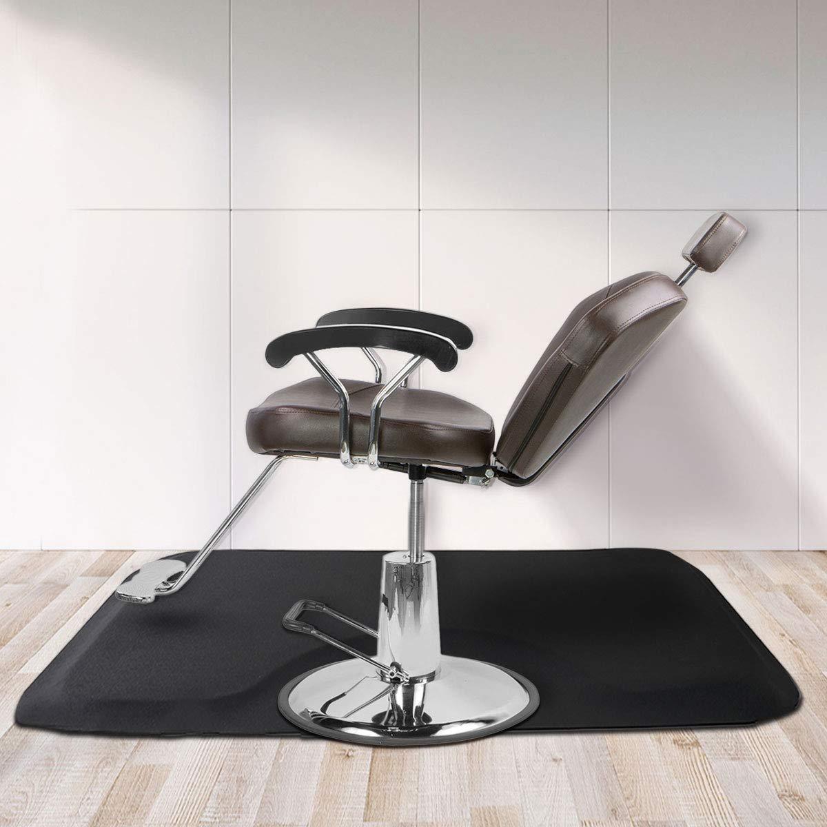 Tobbi Salon Barber Chair Mat 3 ft. x 5 ft. -1/2''Thick Anti Fatigue Beauty Floor Mat Black by TOBBI