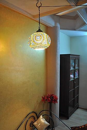 Amazon.com: Étnico hecho a mano de vidrio lámpara colgante ...