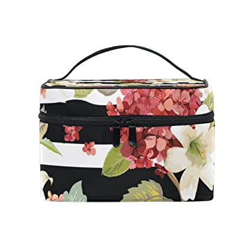 9e2cc520ef Amazon.com   Cosmetic Bags Pink White Red Flowers On Black Stripe PU  Leather Makeup Organizer for Women Teen Girls   Beauty