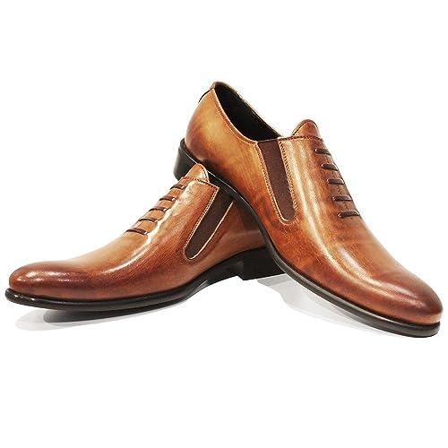 Modello Peque - Cuero Italiano Hecho A Mano Hombre Piel Marrón Mocasines y Slip-Ons Loafers - Cuero Cuero Pintado a Mano - Ponerse: Amazon.es: Zapatos y ...