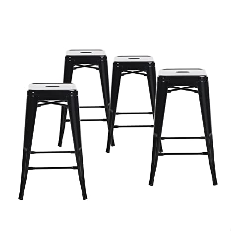 Pleasing Buschman Metal Bar Stools 24 Counter Height Indoor Outdoor And Stackable Set Of 4 Black Machost Co Dining Chair Design Ideas Machostcouk